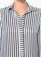 Network Çizgili Gömlek Elbise Lacivert
